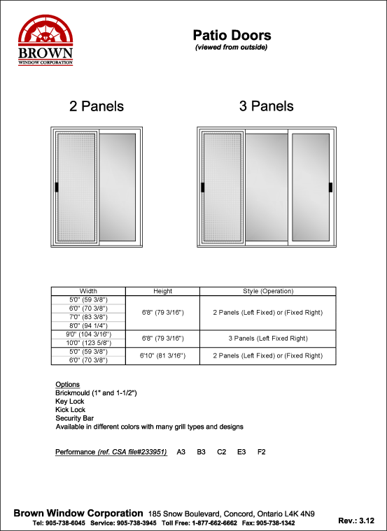 Patio Door Window Size Chart From Brown Window Corporation